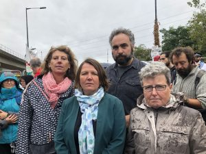 At the DSEI Stop The Arms Fair protest with my colleagues.